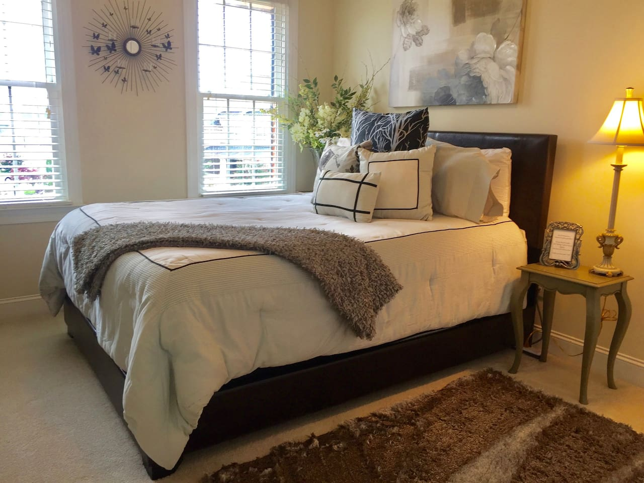 Queen-sized bed with pillow top mattress