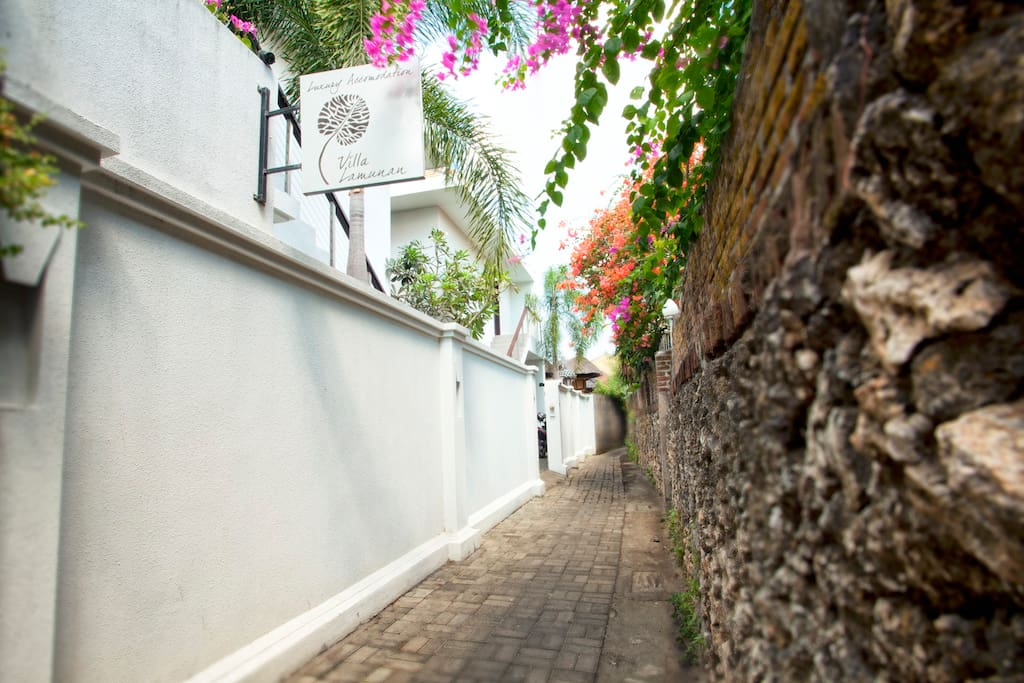 We are located down a quiet, safe lane just of Jalan Legian