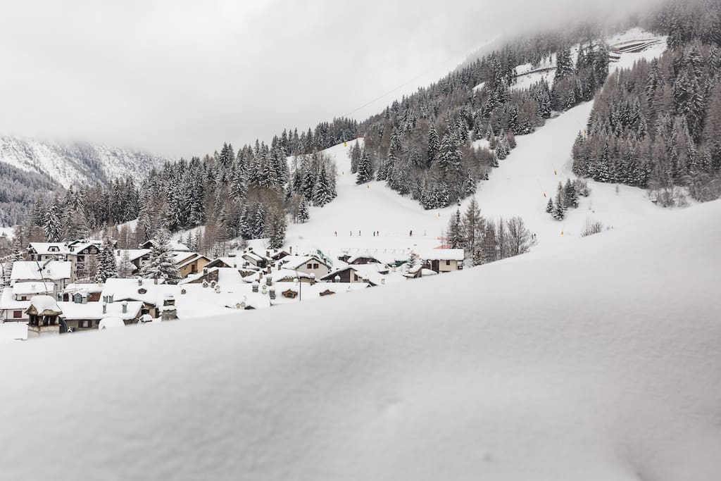 View from dormer on ski slopes
