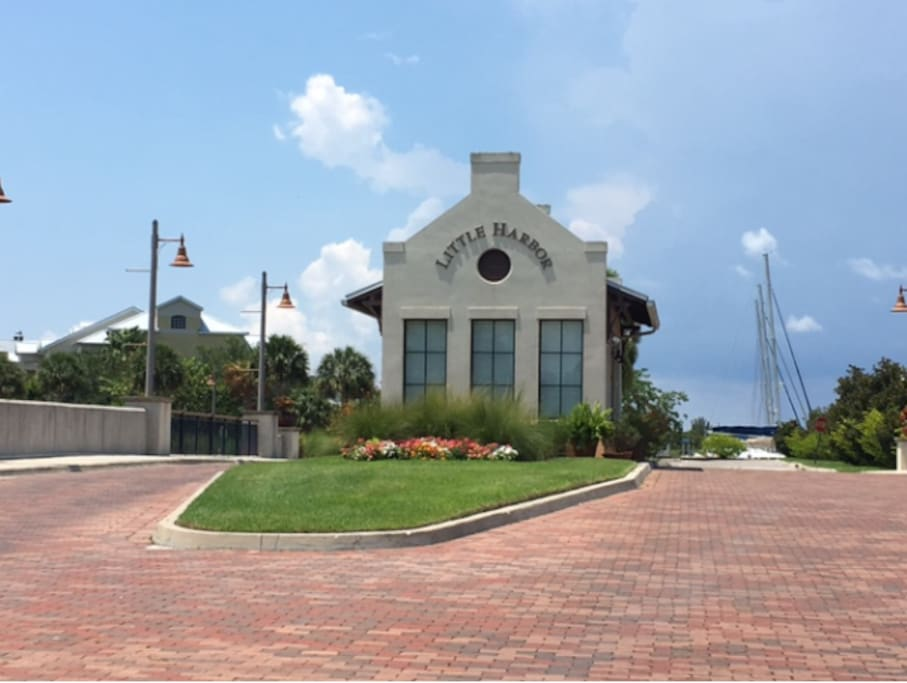Entrance to private resort of Little Harbor