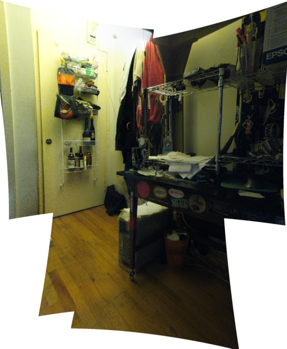 stitched up photo of what's beneath the loft bed. the desk is on the right, in case you can't tell what that is. naturally, all that crap/mess you see on the desk now will be gone. i keep the flat very clean, my room however is too challenging sometimes.