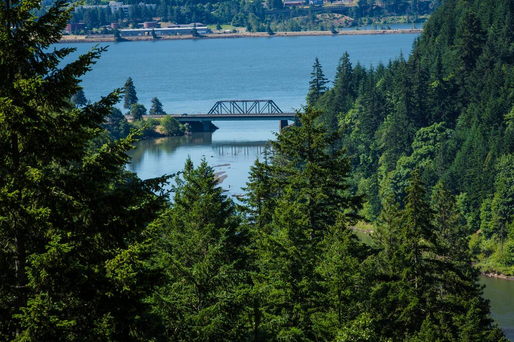 Looking out over the mouth of the White Salmon as it flows into the Columbia.