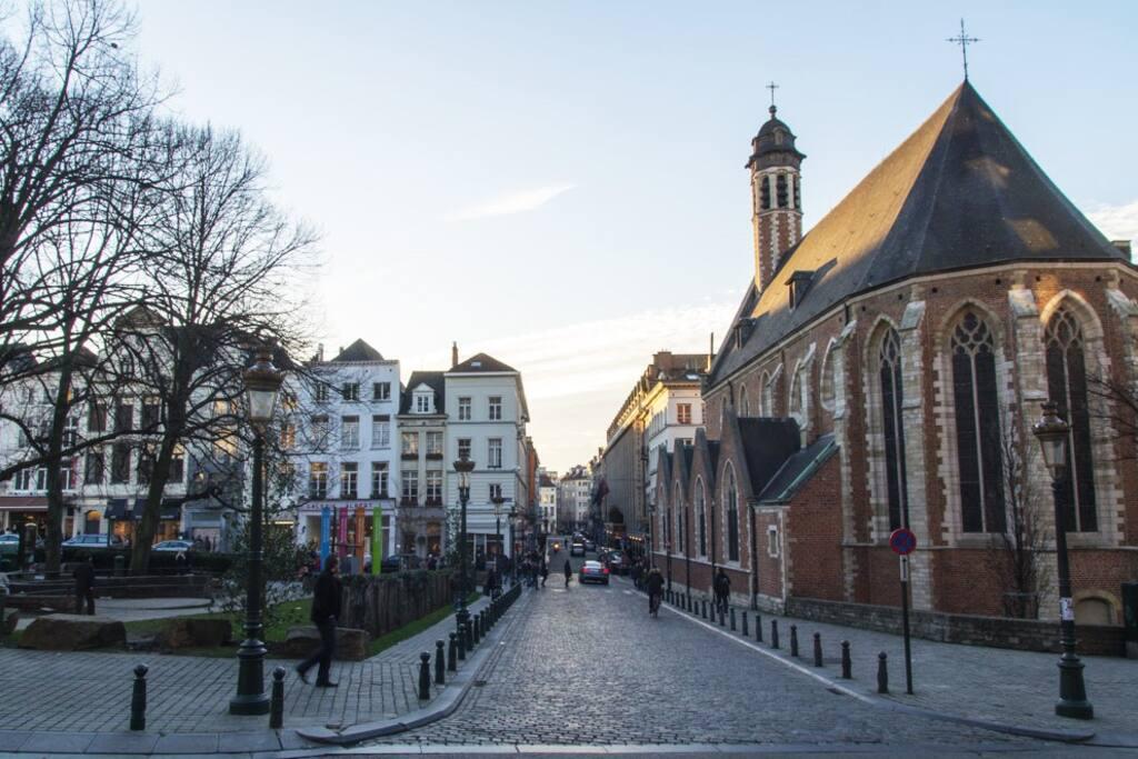 Jolie rue pavée et immeubles de style