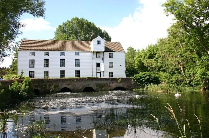 Norwich historic watermill over the River King bed