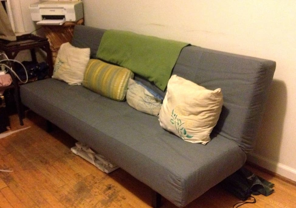 The couch, that also folds out into a bed. This would be your sleeping place.