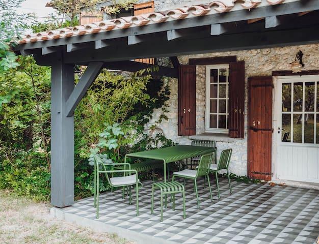 Hilltop barn with pool + designer terrace