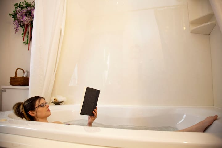"""Unwind and relax in your whirlpool """"Jacuzzi"""" for 2. You may never want to leave."""