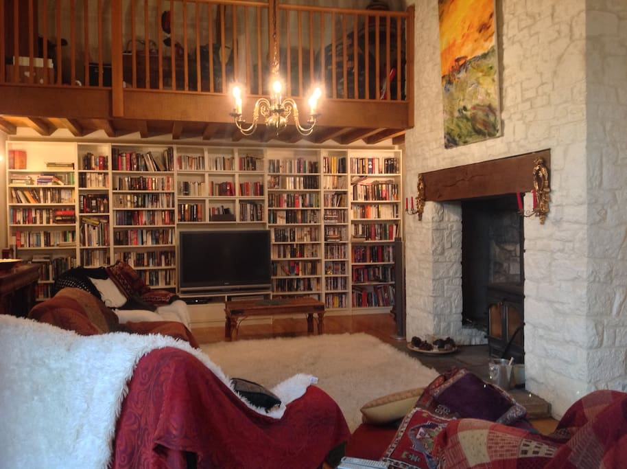 Lounge. Can enjoy a good book in front of the fire