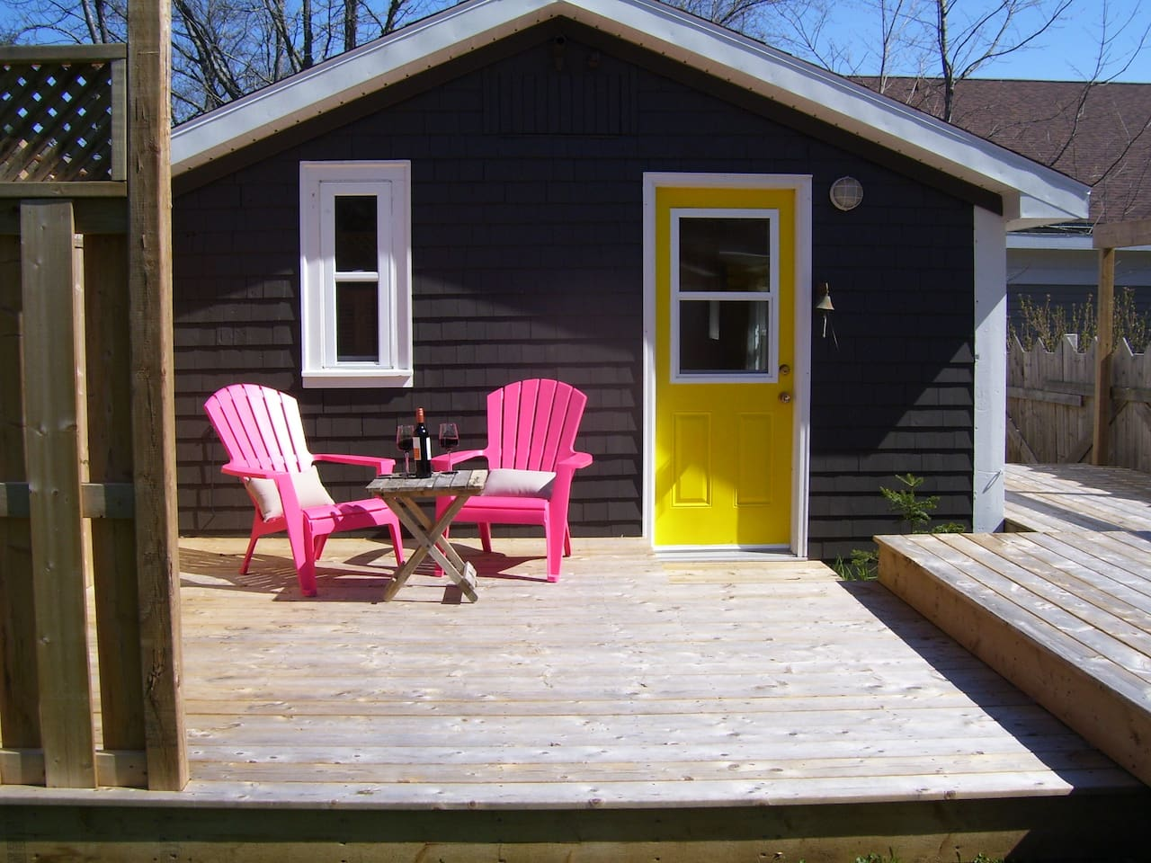 Large, private deck- perfect for enjoying a glass of wine after a day of exploring.