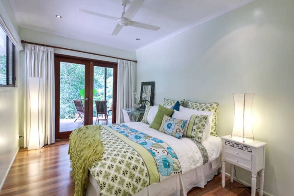 Fully screened and air conditioned bedroom.