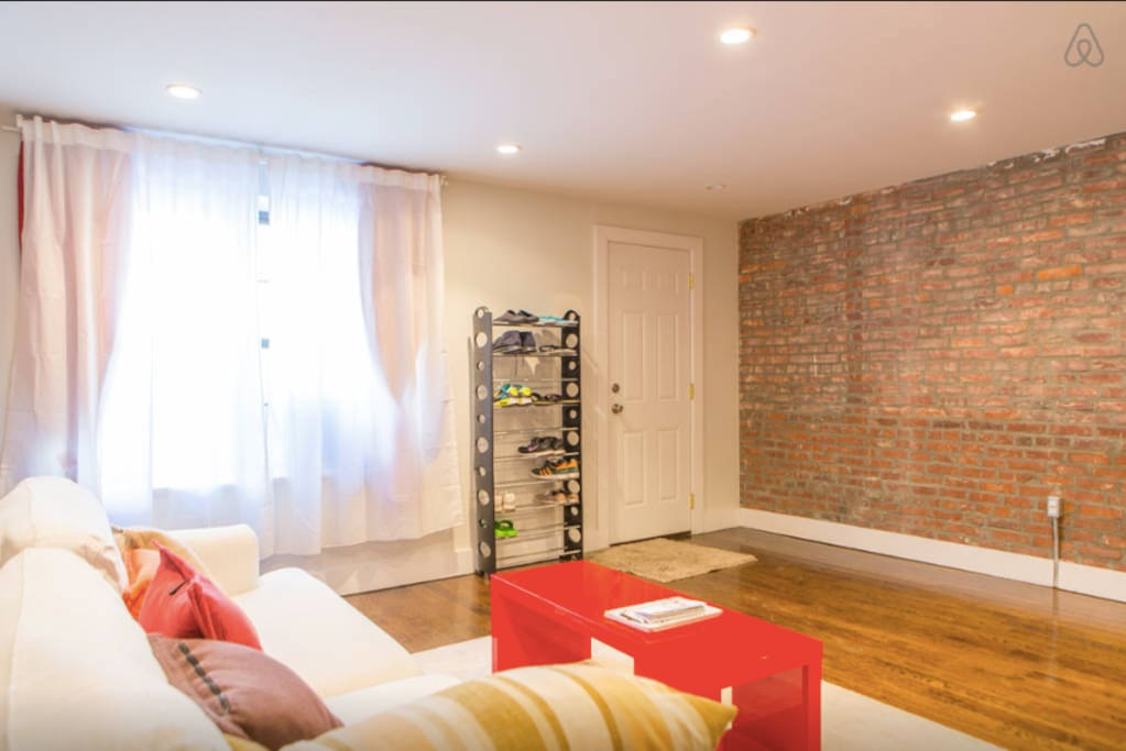 Exposed brick wall all throughout