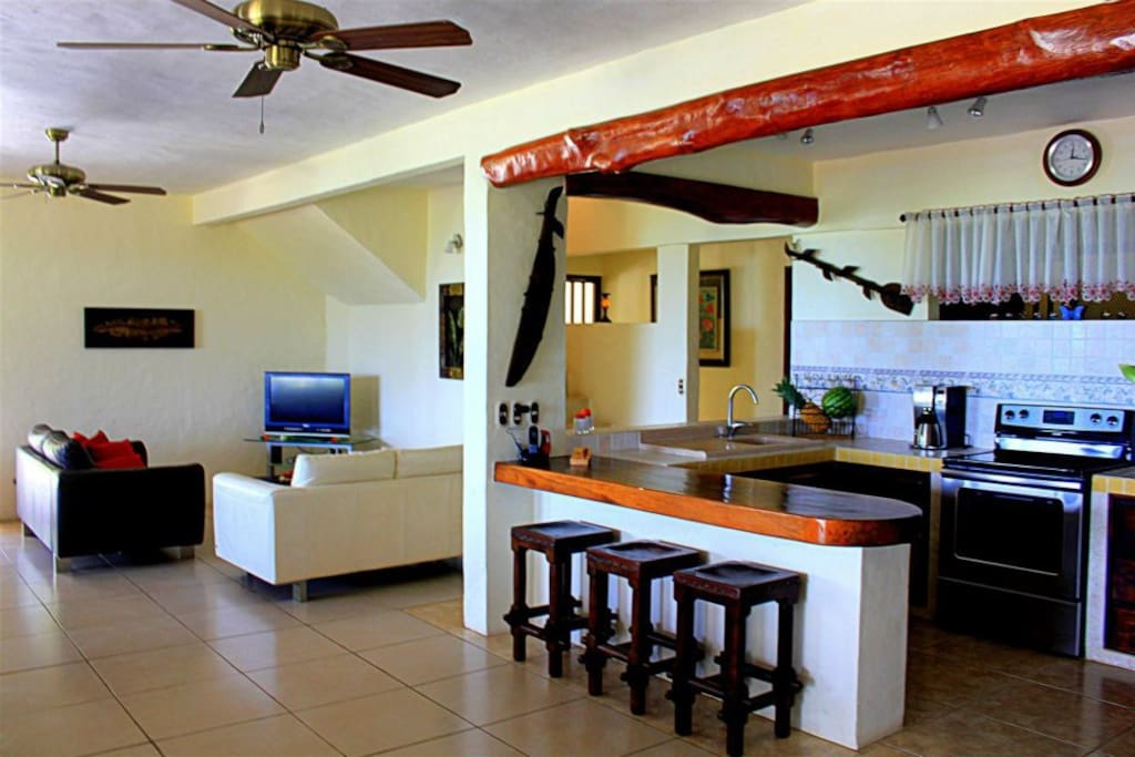kitchen and part of the living area