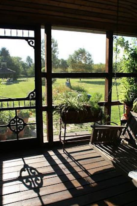 Relax on the screened porch