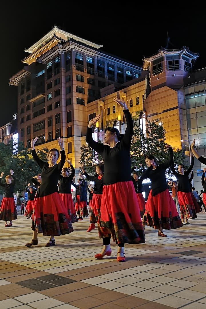very popular 'square dancing'  in China