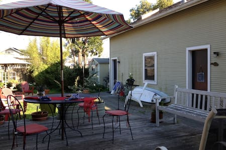 Perfectly located private back house in mid-town Santa Cruz. 1.5 miles to beach, 1 mile to downtown, 3 blocks from world-class music venues, and walking distance to dining. Great for world travelers, musicians, families, or a romantic getaway.
