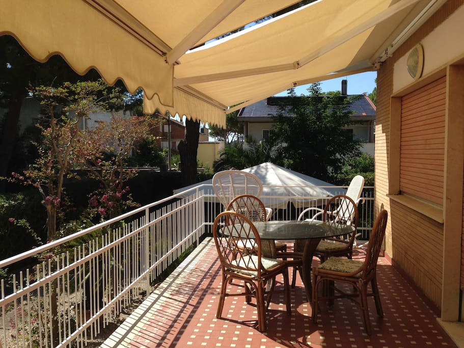 Terrace by main entrance where you can have breakfast outdoors
