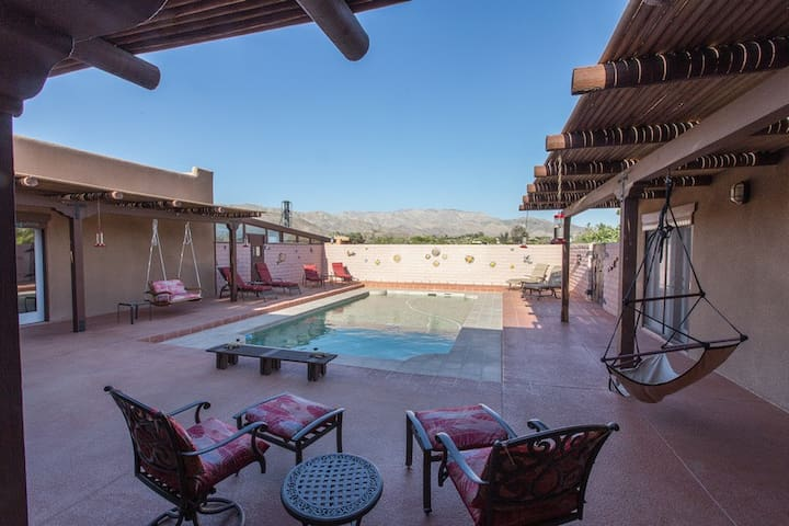 Enclosed swimming pool courtyard