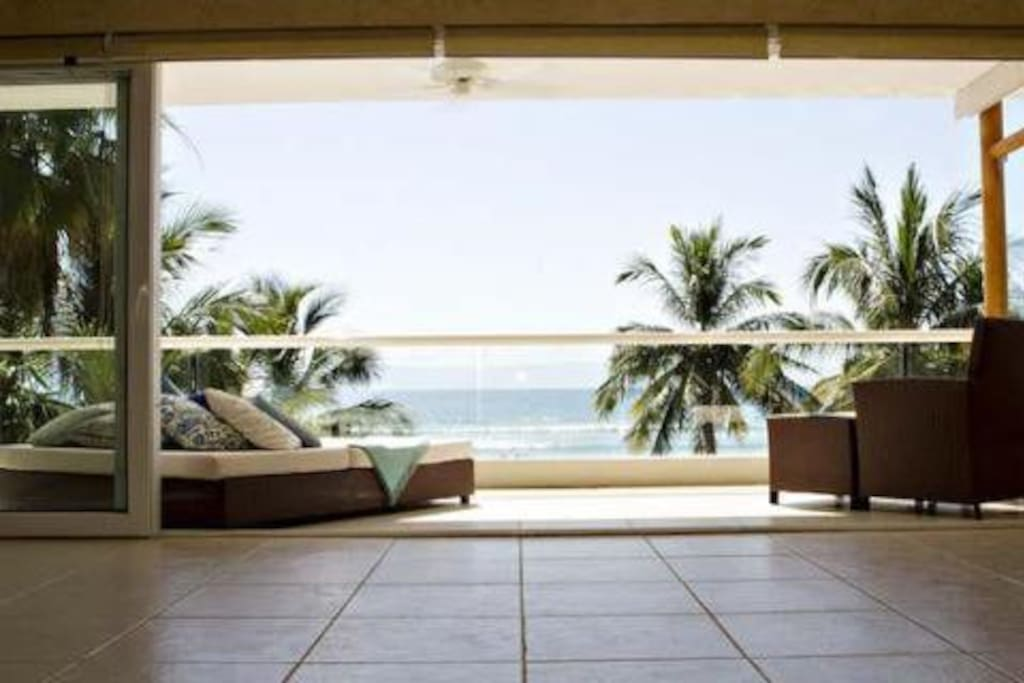 View from the living room:  Sliders that open to the beach