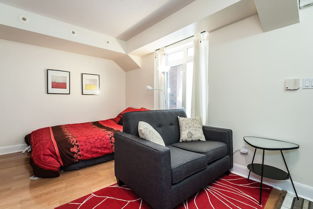 Full size bed with comfortable sofa