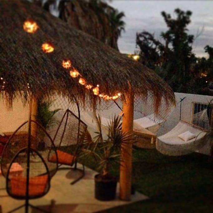 Hammocks and hanging chairs under the palapa for ultimate hangout sessions!