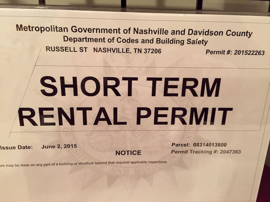 Our property is fully compliant with all regulations. Nashville law requires that the permit be visible in the listing. Make sure you stay in a permitted Airbnb.