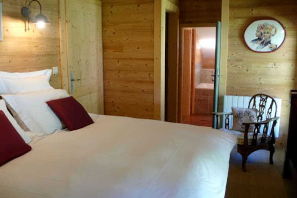 Romantic Vieux Chalet bedroom with en suite bathroom