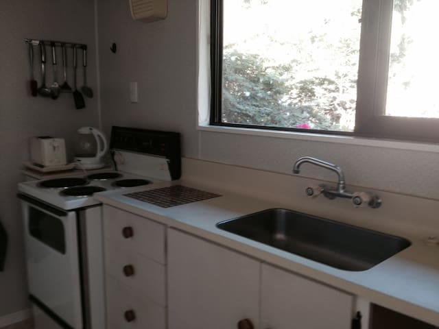 Kitchen bench and stove. Dishwasher to right of sink just out of picture. Fridge is in hallway opposite bathroom.