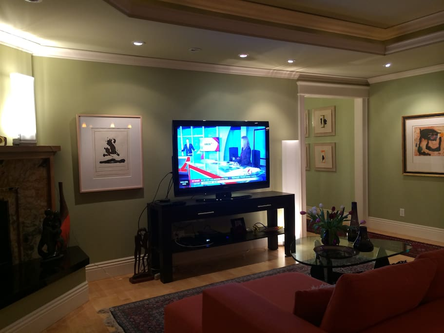 Gas fireplace with hearth, large screen TV, elevated ceiling, modern furniture