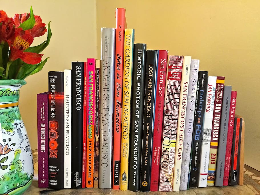 Here's a collection of books about San Francisco on your bedside table.