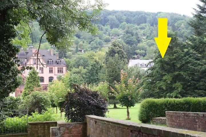 Blick vom Schloss auf die Villa