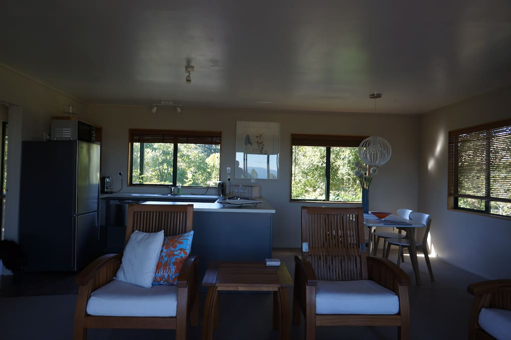 living room/dining room and kitchen