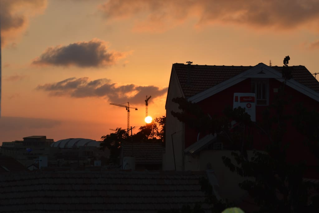 Awesome sunsets towards the Knesset and the west.