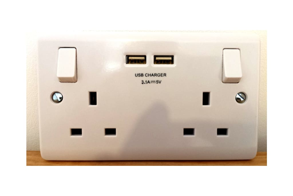 There is a USB Charger plug  - just bring your phone lead.