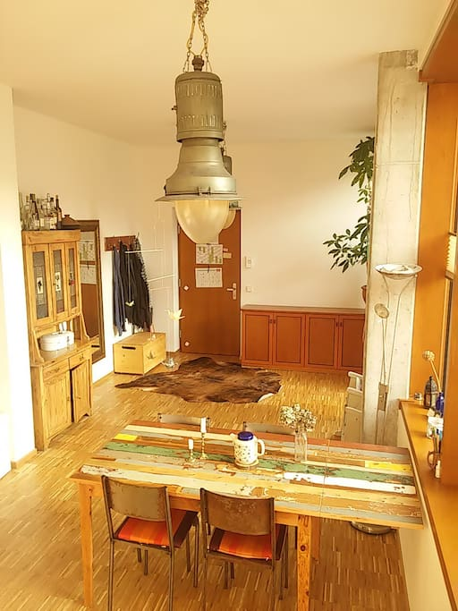 Living room with table - expandable for 8 persons