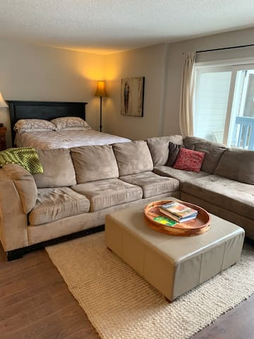This is an updated photo of that really comfy couch and what the living area looks like now.  This is where you will relax after a day of skiing