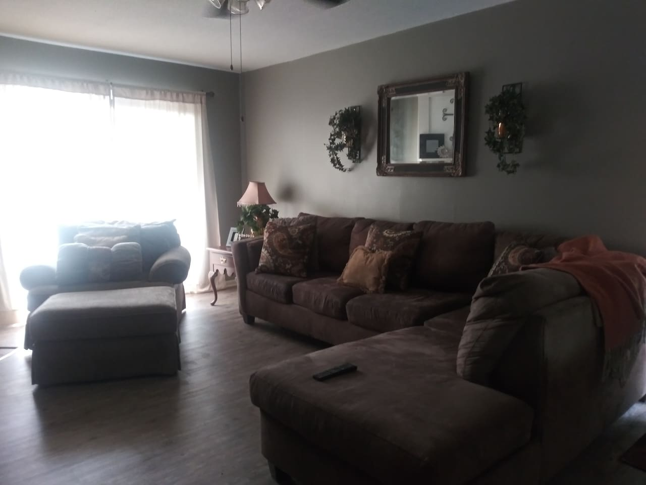 This is the shared living room.  The couch is so comfy and there also a big comfy chair that will swallow you!