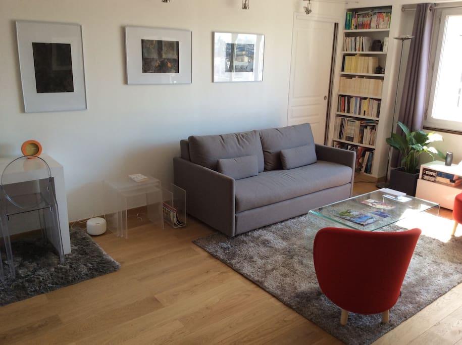 28m2 living room sofa double bed 140x200cm with 2 armchairs and coffee table. TV HD, DVD player, wi-fi  ...  Séjour 28m2 canapé convertible 140x200cm avec  2 fauteuils et table de salon. TV HD lecteur TVD wi-fi...