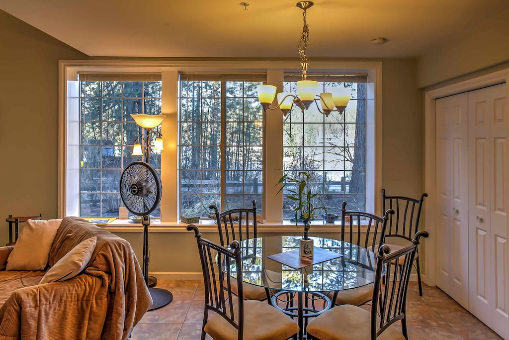 Take a seat for a home-cooked meal around the dining room table, offering seating for 4.
