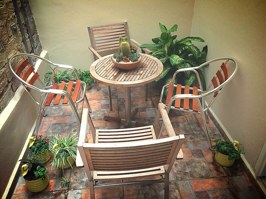 Inside patio to relax and meet your new travel buddy