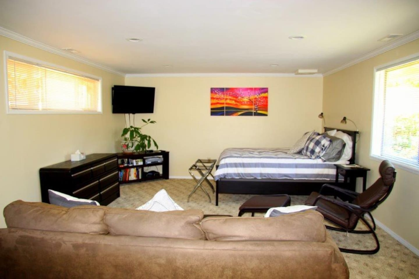 Watch TV while lounging in bed, from the comfortable easy chair or on the sofa.