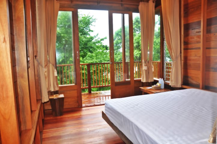 Wooden fan bungalow with forest view 203
