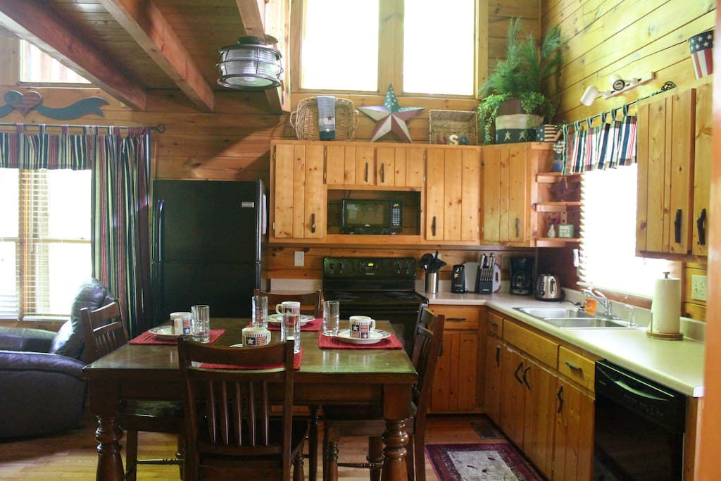 Spacious well stocked kitchen with full sized appliances and new cookware.