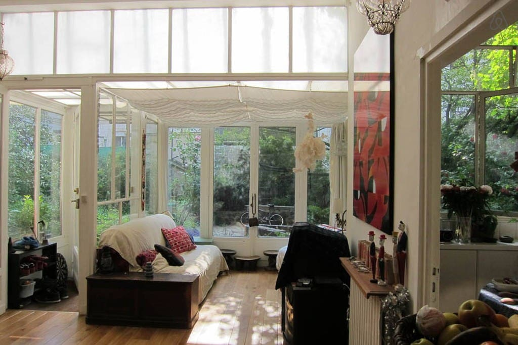 View of the living room and the garden beyond
