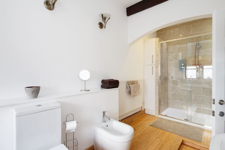 1st floor bathroom with double walk in shower, large freestanding bath, toilet, bidet and sink