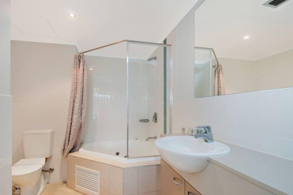 Modern bathroom with corner spa