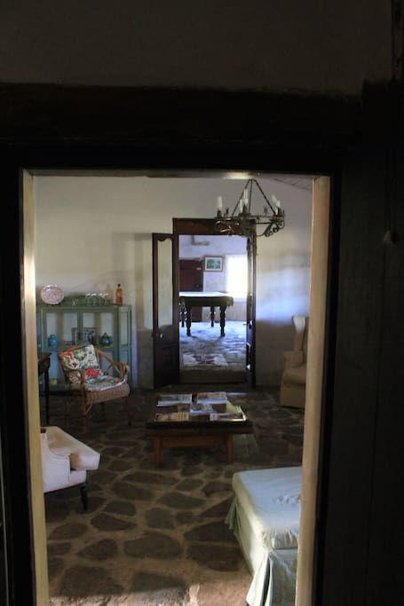 View through the sitting room to the games room.