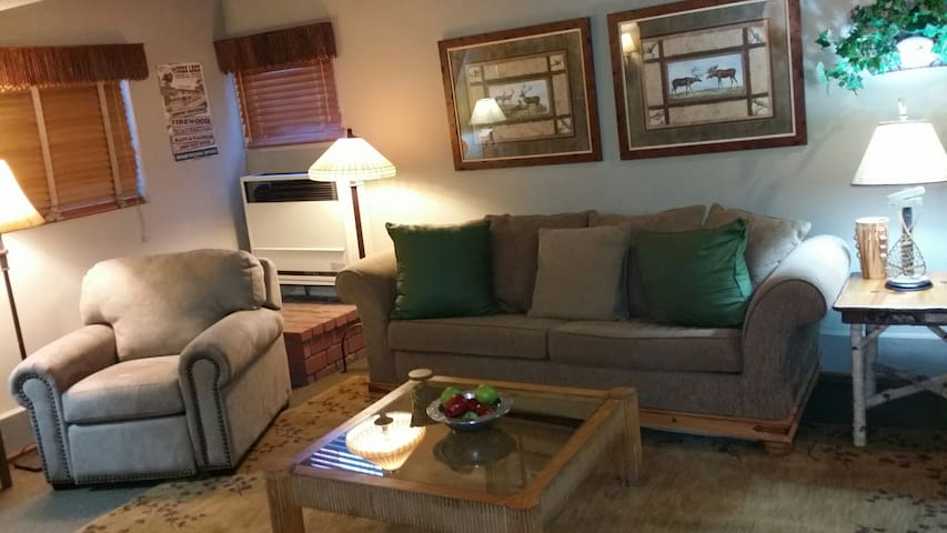 Living room with queen sleeper sofa and comfy recliner