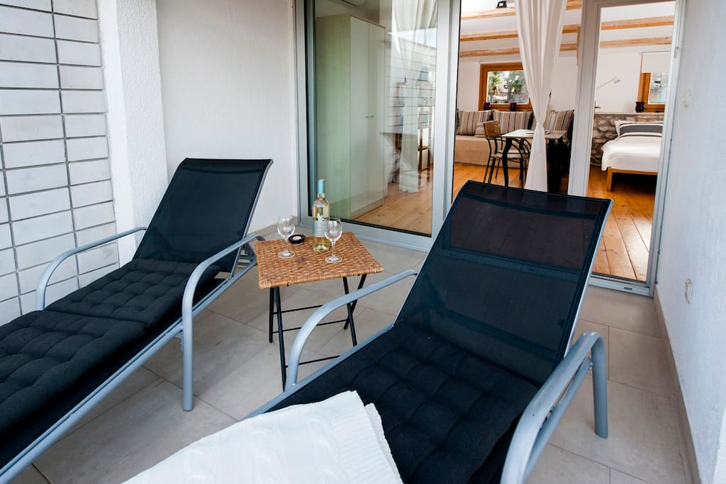 Comfortable chairs on the rooftop terrace