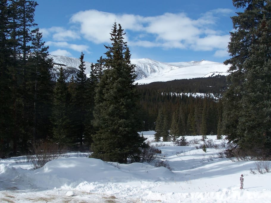 View from the front, winter.  Minutes from world-class skiing in Breckenridge (23 miles) at a fraction of the cost. Snow shoe around the private 10 acres down to Sacramento Creek.
