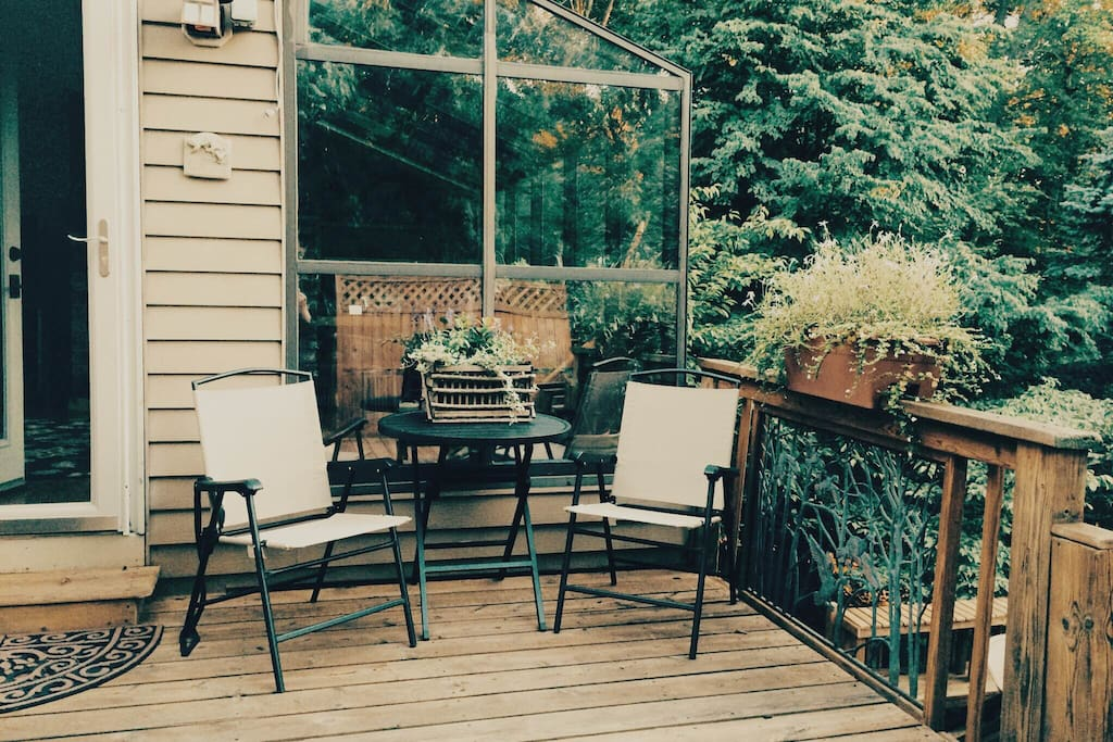 Upper wooded deck area (right by the hot tub!)